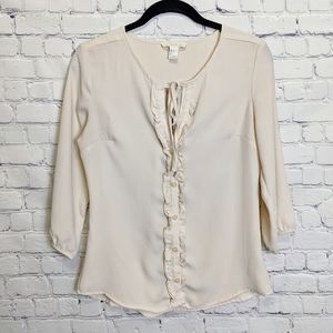 FOREVER 21 BUTTON FRONT RUFFLE TOP